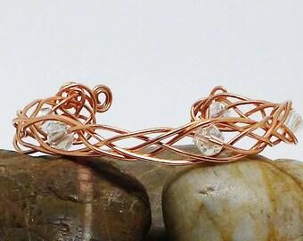 Bracelet - Celtic Knot Crystals Cuff Bracelet