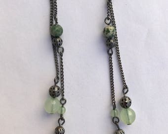 Green and White Beaded Dangle Earrings