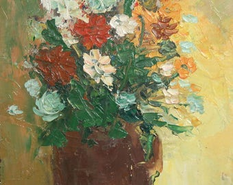 1987 Impressionist still life oil painting signed