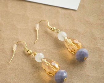 Gold Purple Color Block Earrings