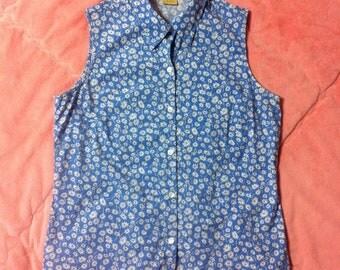 90s Vintage Floral Button Up Shirt / 90s Vintage Daisy Floral Print Top