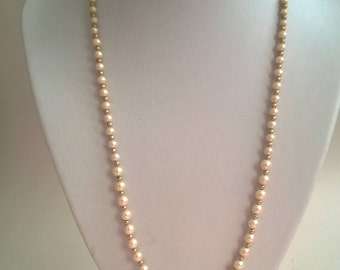 Vintage graduated costume champagne coloured pearl and yellow gold seperator bead graduated necklace