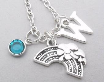 Rainbow monogram necklace | rainbow necklace | rainbow pendant | personalised rainbow necklace | rainbow jewelry | letter | birthstone