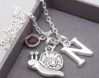 Snail monogram necklace   snail pendant   personalised snail necklace   snail jewelry   snail gift
