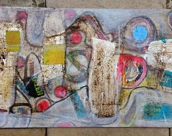 Original AcrylMalerei collage on wood 40 x 80 cm ART painting Eva Dahn
