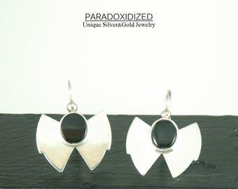 Sterling Silver Shield Armor Earrings Ancient Greek Tribal Jewelry Black Gem