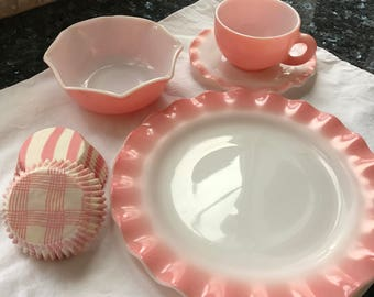 Hazel Atlas Pink Ripple Glass Dinnerware Vignette