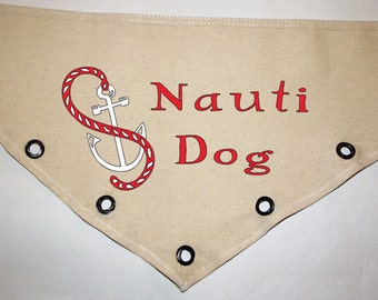 Unique grommet accent Canvas dog pet BANDANA Nauti Dog Nautical navy red anchor white tie-front or over the collar! Personalize!
