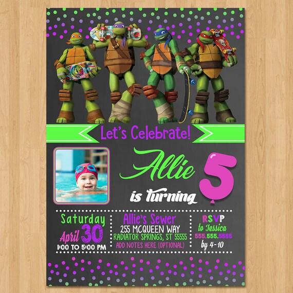 Teenage Mutant Ninja Turtles Invite - Chalkboard Pink - Ninja Turtle Birthday Party - TMNT Party Favors - Photo Invitation - Girl Invite