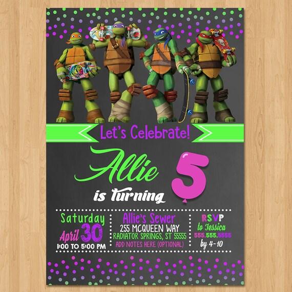 Teenage Mutant Ninja Turtles Invite - Chalkboard Pink - Ninja Turtle Birthday Party - TMNT Party Favor - Chalkboard Invitation - Girl Invite