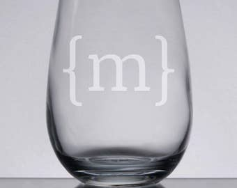 Engraved Wine Glass, Custom Monogram Wine, Etched Glass, Monogrammed Glass, Personalized Gift, Bracket Monogram, Stemless Wine, Custom Gift