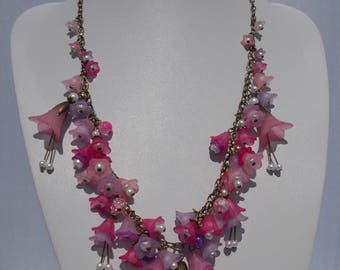 Pretty Pink Lucite Flower Necklace
