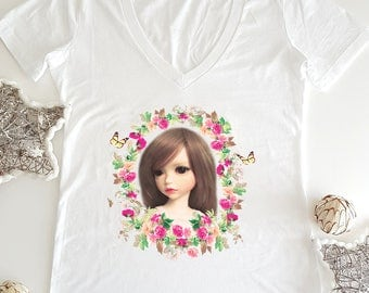 Unique print, Womens shirts, Girls T Shirt, Doll, Gift for Her, Cotton T Shirt, Womens Clothing, Womens Gift, Gift for Women, T Shirt Women
