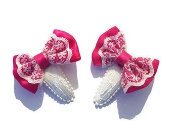 Beautiful lace bow girls hair clips (set)