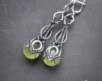 Silver green chalcedony earrings // Wire wrapped silver earrings // Long silver green earrings // Green stone silver earrings // Grass Green