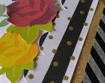 Handmade greeting card- Blank greeting card- Roses and stripes