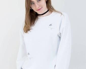 Abstract Print Minimal White Sweatshirt