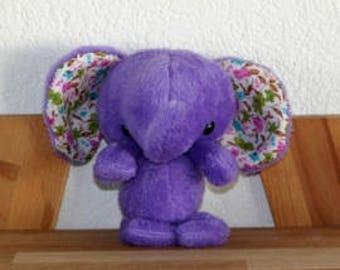 Doudou purple elephant - handmade