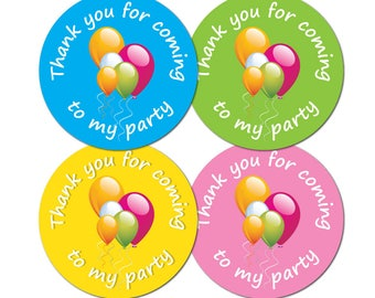 Thanks for coming to my party stickers 30mm in diameter - available in green, blue, yellow or pink