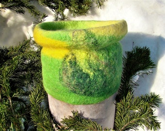 Felted green hat.