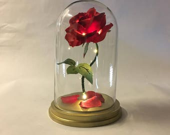 """Beauty and the Beast Rose, Enchanted Rose, Rose in Glass Dome, Gold Base, Light Up Rose, LED Lights - 11"""""""