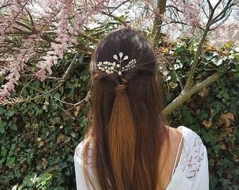 Ivory pearl silver wedding hair pin Hair vine rhinestone bridal hair piece First communion Confirmation accessories Hair Updo prom headpiece