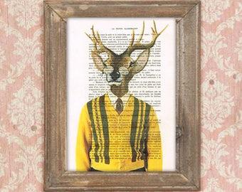 Vintage deer print,sixties, dandy deer, Oscar Wilde,  deer painting, deer illustration, antlers, stags, hunter print