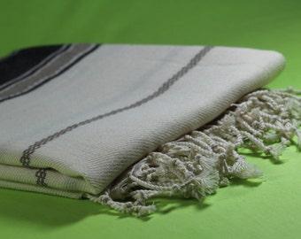 Black Cotton Turkish Beach Towel, Cotton Peshtemal, Natural Cotton Beach Towel, Hammam Towel, Turkish Bath Towel, Turkish Towels