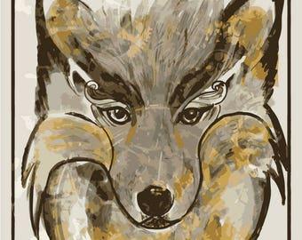 Wolf Wall Print Illustration