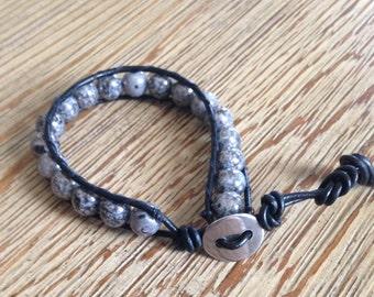 Grey luster, Czech bead, leather wrap bracelet