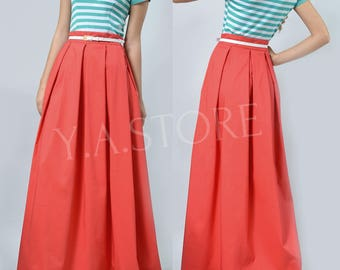 Coral Pleated Maxi Skirt Woman Custom Made Long Skirt
