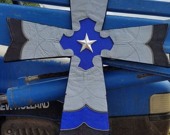 Hand Crafted Leather Cross Made from Genuine Cowboy Boots