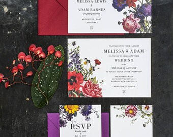 Vintage Botanical Wedding Invitations Printable Set of 4