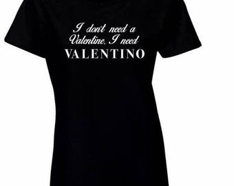 Black & White Valentino No Valentine T-Shirt Tee Short Sleeve Graphic Tee Tshirt