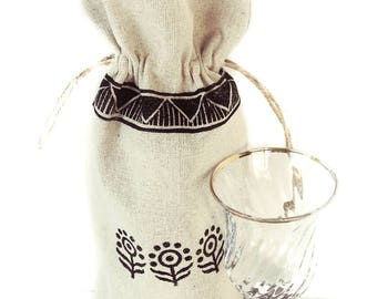 Linen gifts Wine tote Wine carrier Floral print Flower print Gift tote bag House warming gift Wine bag Linen bag Wine gift Wine tote