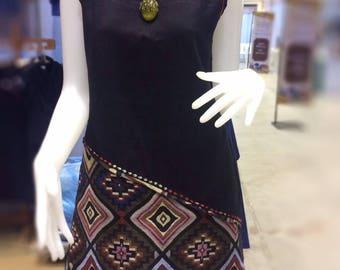 Dress,hand-woven cotton ,Natural dye