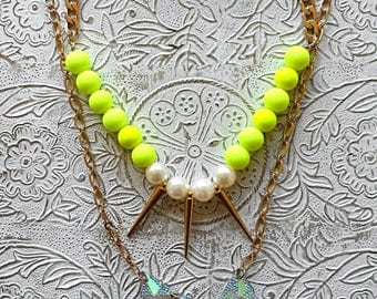 Neon Yellow beaded necklace