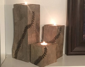 Handmade rustic tea light candle holders