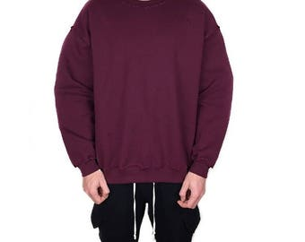 The Distressed Sweatshirt - Merlot Maroon / Oversized Vintage Wear / 90s Rock Grunge / Loose Street Compton Fashion / Baggy relaxed Fit