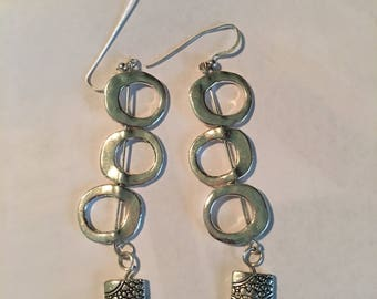Silver Dangle 3 inch Earrings