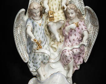 "RARE 22"" Antique Porcelain Angels Statue Faith Hope Love Holy Water Font early to mid 1900s Cherubs Putti 1"