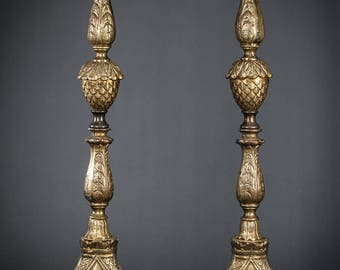 "19"" Large Pair of Baroque Bronzed Metal Candlesticks Two Vintage Candle Holders"