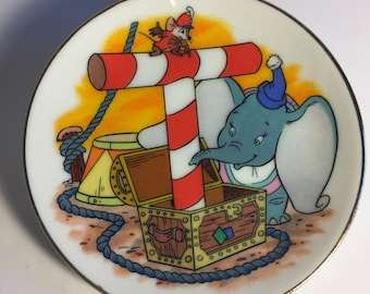 "Disney Letter T for Timothy Mouse (Dumbo) Miniature Porcelain Plate—Vintage, Part of the ""Disney's Alphabet"" Collection—1980s"