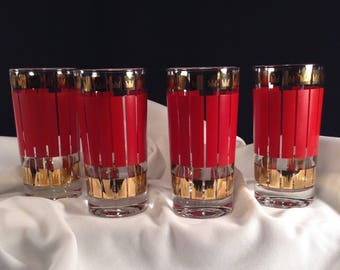 FRED PRESS signed Set of 4 Vintage Red and 22K Gold Highball Glasses by Rubel & Co. Art Deco Styled Crown Motiff 1960's Mid Century Barware