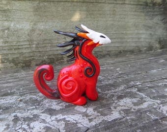 Red Swirly Dragon Creature, Polymer Clay Sculpture