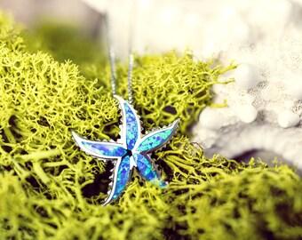 Starfish Blue Opal Necklace Pendant