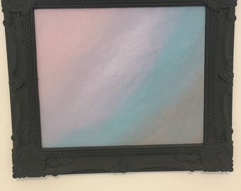 Hand painted canvas with shabby chic frame