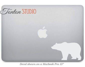White Bear Macbook Decal / Black Bear Macbook Sticker / Car Decal - Laptop Notebook Removable Vinyl Sticker - California - G021