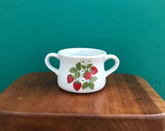 McCoy Pottery Soup Bowl - strawberry country design - two-handled bowl