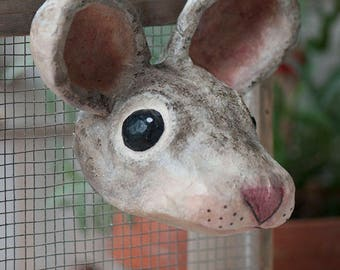 paper mache, mouse, head wall mount, home decor, animal head, wall hanging